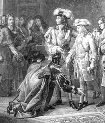 Louis XIV making his grandson a spanish king in 1700
